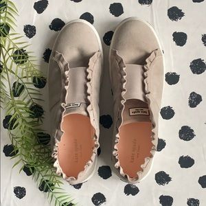 Kate spade gray ruffle suede leather sneaker